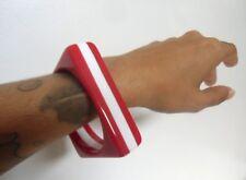 Bracelet bangle résine carré square rouge blanc sixties années 60 original