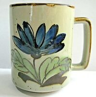 Vintage Speckled Stoneware Hand Painted Flower Coffee Cup Mug Japan Blue Otagiri