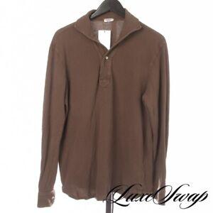 #1 MENSWEAR Eidos Napoli Mud Brown Pique Cotton Lupo Collar Polo Shirt M Italy