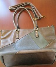 LADIES TOTE BAG BRONZE FAUX LEATHER WITH SHOULDER STRAP