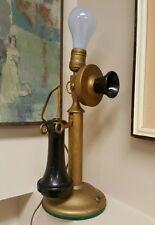 ANTIQUE KELLOGG CANDLESTICK TELEPHONE CHICAGO PATENT DATE 1901 DESK TABLE LIGHT