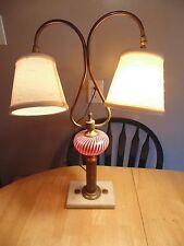 Vintage Double Arm Student Lamp w/ Cranberry Glass