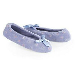 Ladies Isotoner Blue Embroidered  Rosebud Terry Ballet Style Slippers Soft Sole