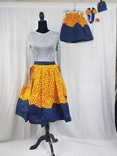 "Mom And Me ND Barbie Doll Ankara Skirt Set Africa Skirt Hair Bow SIZE14 36""Waist"