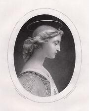 "Lovely Paul DELAROCHE 1800s Antique Engraving ""L'Ange Gabriel"" Framed SIGNED COA"