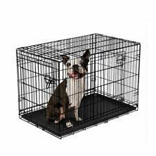 New listing Dog Crate Kennel Folding Metal Pet Cage 2 Door Divider Tray Pan S/M/L/Xl/Xxl