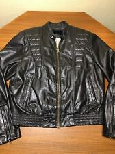 BERMAN'S Black Real Leather Cafe Racer Motorcycle Jacket Faux Fur Trim Liner 44