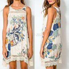 Sexy Women Lady Summer Boho Floral Sleeveless Casual Cocktail Beach Party Dress