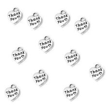 Thank You Charms Heart Pendant Tibetan Silver 12mm Pack of 30