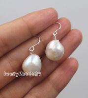 12 mm South Sea White Baroque Pearl Earrings 925 Silver earrings for girls