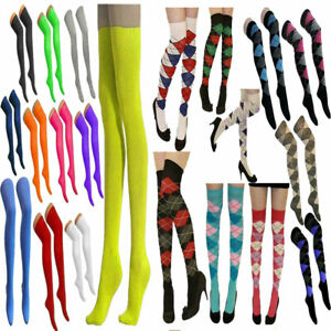 Ladies Womens Argyle OTK Plain Stretchy Socks Over The Knee Fancy Casual Socks