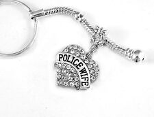 Police wife Key chain gift crystal heart charm policeman's wife keychain cops