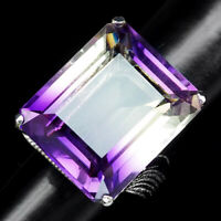PURPLE YELLOW AMETRINE RING 32.70 CT. OCTAGON CUT SZ 6.25 925 STERLING SILVER