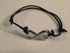 Armband Baumwolle gewachst Leder Infinity schwarz