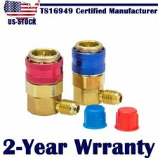 "AC R134a Manifold 1/4"" SAE Brass Air Conditioning Quick Connect Coupler Adapters"