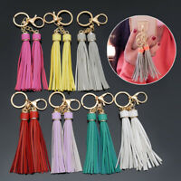Women Double Leather Fringe Tassel Keychain Keyring Key Chain Ring Bag Decor