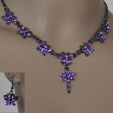 Schmuckset collar aretes diseño elegante boda 2 reihiges Collier lila