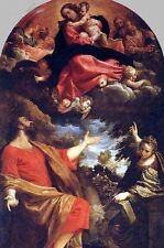No framed Oil painting The Virgin Appears to St. Luke and Catherina with angels