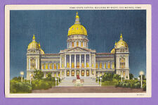 IOWA - DES MOINES, IOWA STATE CAPITOL BUILDING BY NIGHT POSTCARD USED 2169