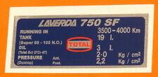 LAVERDA 750 SF  CAPACITIES/TYRE PRESSURE DECAL-DUNLOP