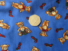 Children print blue brown teddy bear Xmas stockings present fabric - 2 metres