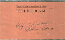 PITCAIRN ca.1946 RARE WIRELESS STATION TELEGRAM ENVELOPE