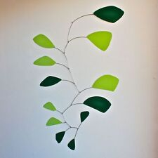 Abstract Modern Friendship Green Leaves Hanging Mobile Painted Steel Museum New