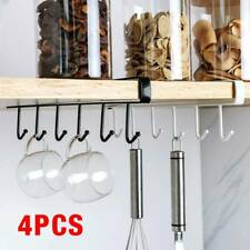4 x Kitchen Hook Mug Cup Holder Under Shelf Hanger Cupboard Storage Rack 6 Hooks