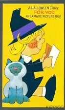 Vintage Greeting Card WITCH CAT A HALLOWEEN STORY FOR YOU AND A MAGIC PICTURE
