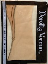 VINTAGE Dorothy Vernon Contorno Nero Completamente Fashioned Calze In Nylon Taglia 9