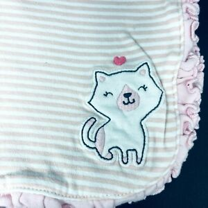Just One You Carters Baby Blanket Pink White Stripe Cat Heart  Cotton Reversible