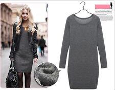 Women Winter Thick Thermal Warm Fleece Long Sleeve Slim Bodycon Dress Size 6-18 Deep Grey UK 6