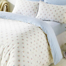 Blue Rosebud Double Duvet & Pillowcases Bedding Set 100% Brushed Cotton
