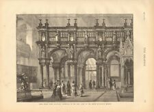 1873 ANTIQUE PRINT- ROOD SCREEN FROM BOIS LE DUC AT SOUTH KENSINGTON MUSEUM