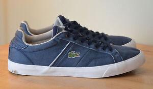 LACOSTE Beautiful Blue Denim Canvas Fashion Sneakers Men's US 10.5 EU 44