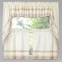 58 W x 24 L Linen Snapshots Embroidered Tier Curtain
