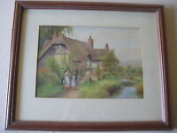 Arthur Wilkinson Original Watercolor English Thatch-Roof Cottage Garden, Signed