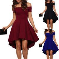 Bridesmaid Off Shoulder High Low Hem Solid Color Skater Dress Plus Size Regular