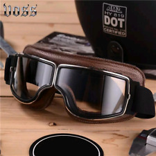 New Aviator Look Leather Motorbike Anti UV Dust Wind Protected Goggles