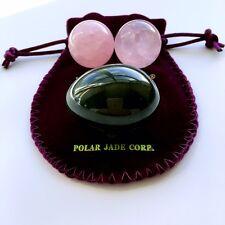 NEW: Genuine Jade Kegel Yoni Egg with Pair of Undrilled Rose Quartz Ben Wa Balls