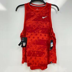 Nike Womens Speed Red Printed Pre-Season USA Soccer Sleeveless Tank Top Sz M $35