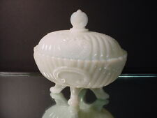 Scarce Portieux Vallerysthal Opalescent Rib & Scroll Oval Footed Candy Dish 1900