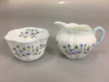Shelley Dainty Blue Rock Scalloped Edge Sugar Bowl Creamer Bone China England