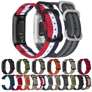 Nylon Canvas Fabric Buckle Replacement Strap Band For Fitbit Charge 4 3 2 SE