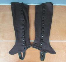 Vintage 1900s Brown Button-up Boot Spats Knee High Leggings Victorian Antique