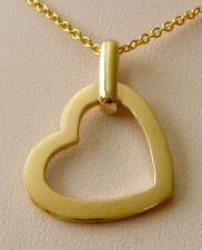 GENUINE SOLID 9ct YELLOW GOLD PERSONALISED PLAIN HEART PENDANT NAME NECKLACE