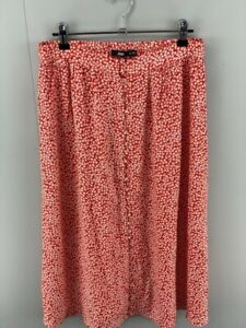 Sportsgirl Womens Red White Viscose Floral Elastic Waist Pencil Skirt Size 10
