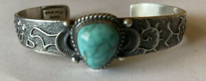 Signed Kirk Smith Navajo Sterling Silver Carico Lake Turquoise Cuff Bracelet