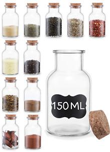 12 Gewürzgläser Glas 150ml Gewürz Dosen Korken Kräuter Kraut Kork Deckel Rund