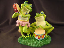 "Russ Berrie Frog Musicians Hip-Hops Hula Hoppers #14462 Figurine 4.25""T Signed"